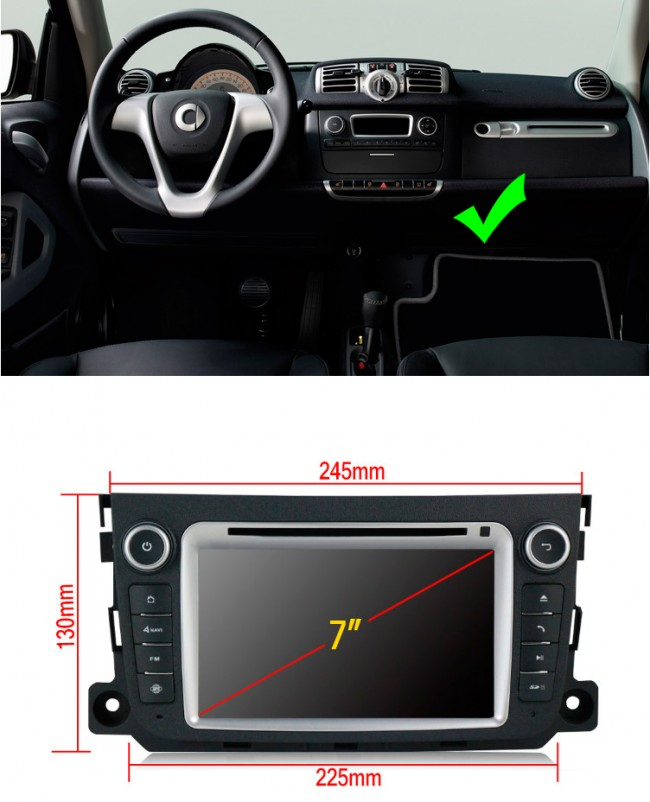smart fortwo android 7 1 autoradio dvd gps avec 2g ram android 7 1 1 autoradio lecteur dvd gps. Black Bedroom Furniture Sets. Home Design Ideas