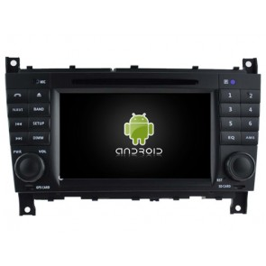 Mercedes CLC W203 Android 6.0.1 Autoradio DVD GPS avec Octa Core 2G Ram Ecran tactile Commande au volant et Kit mains libres Bluetooth Micro DAB+ USB 4G Wifi TV MirrorLink OBD2 - Android 6.0.1 Autoradio Lecteur DVD GPS Compatible pour Mercedes CLC W203