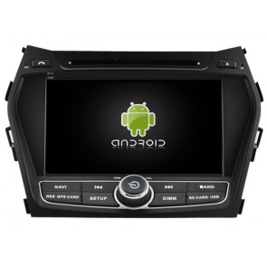 Hyundai Santa Fe Android 7.1 Autoradio DVD GPS avec 2G Ram Ecran tactile Commande au volant et Kit mains libres Bluetooth Micro DAB+ CD SD USB 4G Wifi TV MirrorLink OBD2 - Android 7.1.1 Autoradio Lecteur DVD GPS Compatible pour Hyundai Santa Fe (De 2012)