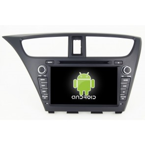 Honda Civic Hatchback Android 6.0 Autoradio DVD GPS Navigation avec Ecran tactile Bluetooth Telecommande au Volant Disque Dur Micro RDS CD SD USB 4G Wifi TV MirrorLink OBD2 - Android 6.0 Autoradio Lecteur DVD GPS Compatible pour Honda Civic Hatchback